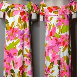 Malia Honolulu Vtg Maxi Dress Puffed Sleeves